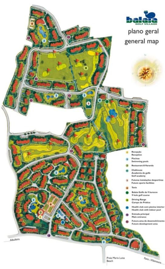 Balaia Golf Village Resort Apartments Villas - Portugal golf map